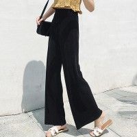 Ribbed Fashion Closure String Comfy Wear Trouser - Black