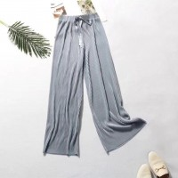 Ribbed Fashion Closure String Comfy Wear Trouser - Gray
