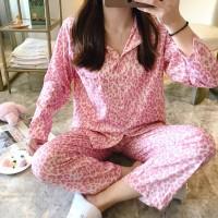 Collar Neck Closure Button Pajama Comfy Wear Night Suit - Pink