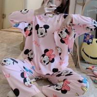 Mickey Minnie Printed Round Neck Two Pieces Casual Wear Pajama Suit - Black Pink