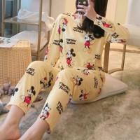 Mickey Minnie Printed Round Neck Two Pieces Pajama Suit - Yellow
