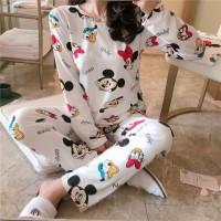Mickey Minnie Printed Round Neck Two Pieces Pajama Suit - White