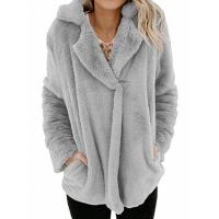 Furry Casual Wear Suit Neck Outwear Jacket - Gray
