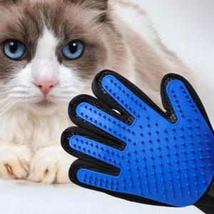 Pet Universal Cleaning Massage Silicone Bath Glove - Blue
