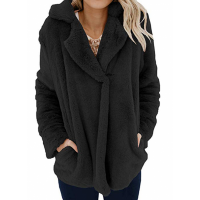 Furry Casual Wear Suit Neck Outwear Jacket - Black