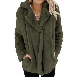 Furry Casual Wear Suit Neck Outwear Jacket - Green