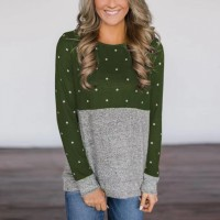 Round Neck Full Sleeves Contrast Polka Dot Blouse Top - Green