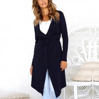V Neck Irregular Full Sleeved Outwear Long Jacket - Dark Blue
