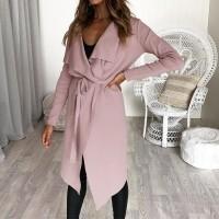 Irregular Full Sleeves Waist Strap Outwear Jacket - Pink
