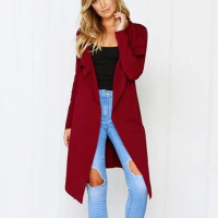 Irregular Full Sleeves Waist Strap Outwear Jacket - Wine Red