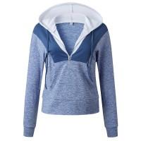 Hoodie Style Zipper Closure Casual Wear Jumper Top - Blue