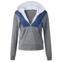 Hoodie Style Zipper Closure Casual Wear Jumper Top - Gray