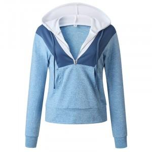 Hoodie Style Zipper Closure Casual Wear Jumper Top - Light Blue
