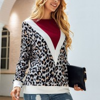 Leopard Printed Full Sleeves Blouse Top - Multicolor