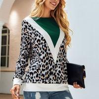 Leopard Printed Full Sleeves Blouse Top - Green