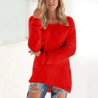 Full Sleeves V Neck Solid Color Casual Top - Red