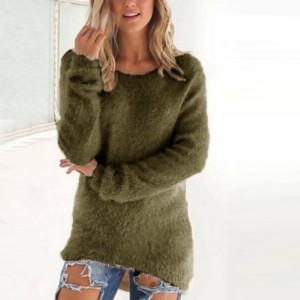 Full Sleeves V Neck Solid Color Casual Top - Green