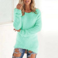 Full Sleeves V Neck Solid Color Casual Top - Sea Green