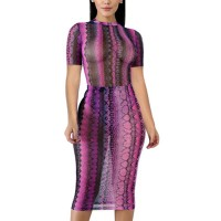 Bodyfitted Short Sleeves Printed Thin Fabric See Through Sexy Dress - Pink