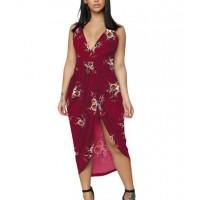 Floral Printed Sleeveless Irregular Beach Wear Dress - Wine Red