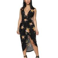 Floral Printed Sleeveless Irregular Beach Wear Dress - Black