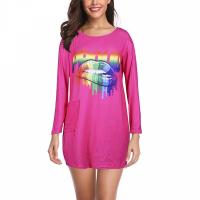 O Neck Soft Fabric Long Sleeves Women Mini Top - Hot Pink