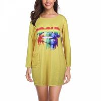 O Neck Soft Fabric Long Sleeves Women Mini Top - Yellow