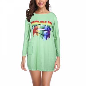 O Neck Soft Fabric Long Sleeves Women Mini Top - Green
