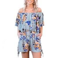 Off Shoulder Half Sleeves Mini Romper Dress - Blue