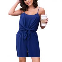 Solid Color Spaghetti Strap Sleeveless Mini Women Jumpsuit - Blue