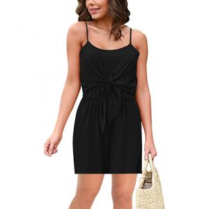 Solid Color Spaghetti Strap Sleeveless Mini Women Jumpsuit - Black