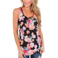 Floral Pattern Square Neck Sleeveless Casual Wear Women Top - Black