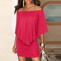 Elegant Solid Color Slash Neck Mini Dress - Rose Pink