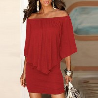 Elegant Solid Color Slash Neck Mini Dress - Red