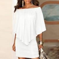 Elegant Solid Color Slash Neck Mini Dress - White