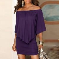 Elegant Solid Color Slash Neck Mini Dress - Purple
