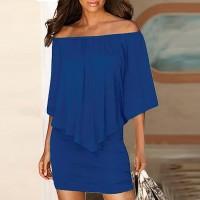 Elegant Solid Color Slash Neck Mini Dress - Blue