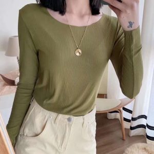 Cotton Blends Solid Color O Neck Full Sleeves Women Top - Green