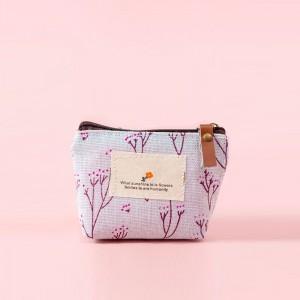 Floral Print Zipper Closure Mini Handheld Money Pouch Bag - Light Blue