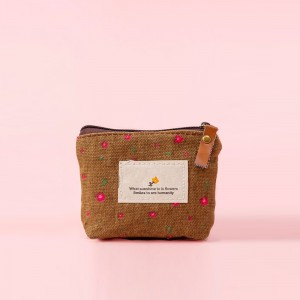 Floral Print Zipper Closure Mini Handheld Money Pouch Bag - Brown