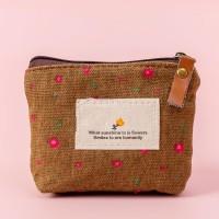 Floral Printed Zipper Closure Mini Messenger Bag - Brown