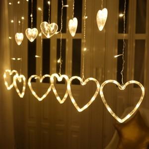 Long Size Heart Love Shape Curtain Led Bulb Light String - Light Yellow