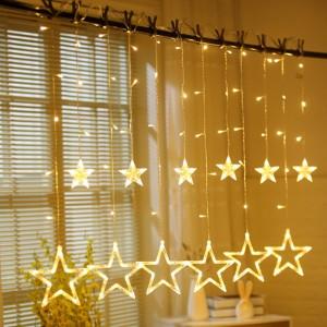 Room Decoration 12 Stars LED Curtain String Lights - Yellow