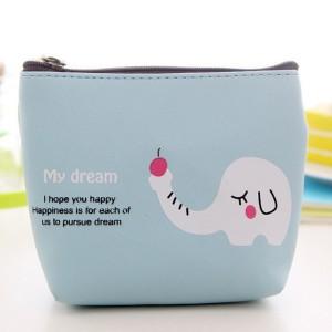 Animal Print Zipper Closure Mini Messenger Bag - Sky Blue