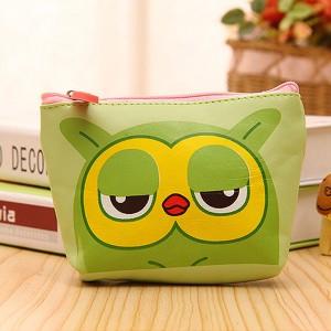 Animal Print Zipper Closure Mini Coins Messenger Bag - Green