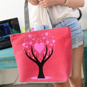 Fashionable One Shoulder Canvas Cloth Ladies Bag - Red