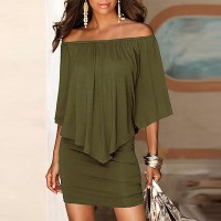 Elegant Solid Color Slash Neck Mini Dress - Green