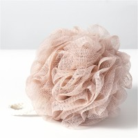 Wall Hanging Nylon Bathroom Essential Ruffled Scrubber - Pink