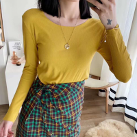 Cotton Blends Solid Color O Neck Full Sleeves Women Top - Yellow