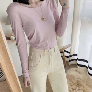Cotton Blends Solid Color O Neck Full Sleeves Women Top - Pink